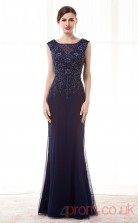 Navy Blue Tulle Satin Trumpet/Mermaid Scoop Sleeveless Prom Dresses(JT4-CZM211)