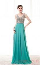 Turquoise Satin Chiffon A-line V-neck Sleeveless Prom Dresses(JT4-CZM214)