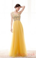Gold Tulle A-line V-neck Sleeveless Prom Dresses(JT4-CZM215)