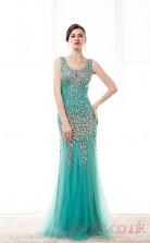 Light Turquoise Tulle Trumpet/Mermaid V-neck Sleeveless Prom Dresses(JT4-CZM218)