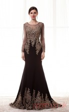 Black Chiffon Tulle Trumpet/Mermaid Illusion Scoop Long Sleeve Prom Dresses(JT4-CZM219)