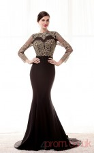 Black Satin Chiffon Trumpet/Mermaid Jewel 3/4 Length Sleeve Prom Dresses(JT4-CZM220)