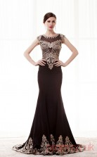 Black Satin Tulle Trumpet/Mermaid Jewel Short Sleeve Prom Dresses(JT4-CZM221)