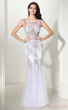 White Tulle Trumpet/Mermaid V-neck Sleeveless Prom Dresses(JT4-CZMC105)