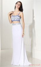 Ivory Chiffon Trumpet/Mermaid Straps Sleeveless Two Pieces Prom Dresses(JT4-CZMC107)