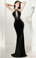 Black Velvet Tulle Trumpet/Mermaid Halter Sleeveless Prom Dresses(JT4-CZMC113)