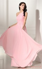 Candy Pink Chiffon A-line One Shoulder Sleeveless Evening Dresses(JT4-CZMC114)