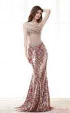 Burgundy Lace Chiffon Trumpet/Mermaid Illusion Scoop Sleeveless Sexy Prom Dresses(JT4-CZMC120)