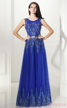 Light Royal Blue Tulle A-line Scoop Sleeveless Prom Dresses(JT4-CZMC121)