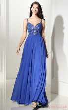 Light Royal Blue Lace Chiffon A-line V-neck Straps Sleeveless Evening Dresses(JT4-CZMC125)