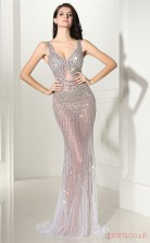 Gray Tulle Trumpet/Mermaid V-neck Sleeveless Sexy Prom Dresses(JT4-CZMC137)