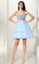 Sky Blue Tulle Sequined Princess Sweetheart Sleeveless Cocktail Dress(JT4-CZMD122)