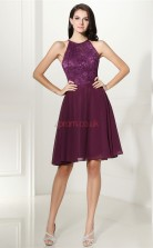 Grape Chiffon Lace A-line Halter Sleeveless Cocktail Dress(JT4-CZMD130)