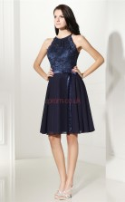 Navy Blue Taffeta Chiffon Lace A-line Halter Sleeveless Cocktail Dress(JT4-CZMD131)