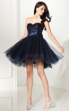 Navy Blue Tulle Sequined Princess Sweetheart Sleeveless Cocktail Dress(JT4-CZMD133)