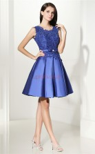 Blue Taffeta Lace A-line Jewel Sleeveless Cocktail Dress(JT4-CZMD135)