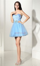 Light Blue Tulle Feather A-line Sweetheart Sleeveless Cocktail Dress(JT4-CZMD136)