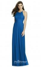 DASUK2988 Plus Sides A Line Halter Light Royal Blue 135 Satin Chiffon With Strappy Bridesmaid Dresses