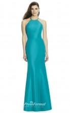 DASUK2996 Plus Sides Mermaid/Trumpet Halter Turquoise 56 Matte Satin With Strappy Bridesmaid Dresses