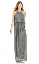 DASUK6753 Plus Sides A Line Halter Dark Silver Sequined With Covered Back Bridesmaid Dresses