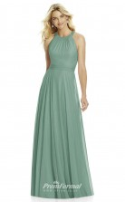 DASUK6760 Plus Sides A Line Halter Dark Sage 54 Chiffon With Strappy Bridesmaid Dresses