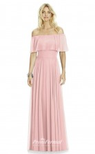 DASUK6763 Plus Sides A Line Off the Shoulder Pink 12 Chiffonper Bridesmaid Dresses