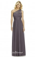 DASUK6765 Plus Sides A Line One Shoulder Topza Silk Like Chiffon With Mid Back Bridesmaid Dresses