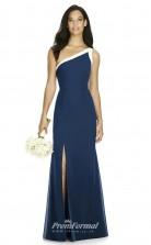 DASUK8178 Plus Sides Mermaid/Trumpet One Shoulder Navy Blue 102 Charmeuse With Mid Back Bridesmaid Dresses