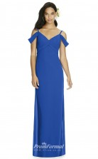 DASUK8183 Plus Sides Sheath Off the Shoulder Light Royal Blue 135 Chiffon With Mid Back Bridesmaid Dresses