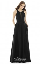 DASUKD733 Plus Sides A Line Jewel Black Satin With Open Back Bridesmaid Dresses