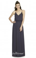 DASUKD739 Plus Sides A Line V Neck Onyx Satin Chiffon With Strappy Bridesmaid Dresses