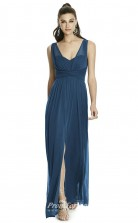DASUKD740 Plus Sides A Line V Neck Sifia Blue Chiffonper Bridesmaid Dresses