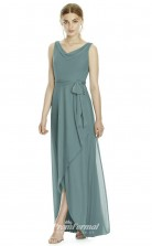 DASUKJY532 Plus Sides A Line Cowl Mint Green Silk Like Chiffonper Bridesmaid Dresses