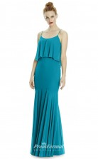 DASUKLR238 Plus Sides Mermaid/Trumpet Straps Turquiose Chiffon With Mid Back Bridesmaid Dresses