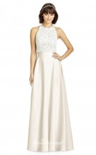 DASUKS2975 Plus Sides A Line Jewel Beige 59 Lace Satin Chiffon With Covered Back Bridesmaid Dresses