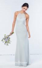 DASUKWO303 Plus Sides Sheath Halter Light Sky Blue 65 Chiffon With Open Back Bridesmaid Dresses