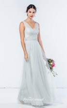 DASUKWO343 Plus Sides A Line V Neck Light Sky Blue 65 Tulle With Strappy Bridesmaid Dresses