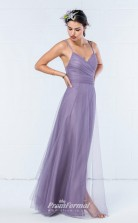 DASUKWO344 Plus Sides A Line Straps Violet 113 Tulleper Bridesmaid Dresses