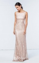 DASUKWO351 Plus Sides Mermaid/Trumpet Scoop Pearl Pink Lace With Open Back Bridesmaid Dresses