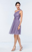 DASUKWO858 Plus Sides A Line One Shoulder Violet 113 Tulle With Low Back Bridesmaid Dresses