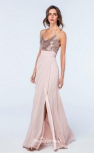 DASUKWS2508 Plus Sides Mermaid/Trumpet Straps Light Pink 112 Sequined Chiffon With Strappy Bridesmaid Dresses