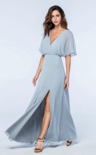 DASUKWS2513 Plus Sides A Line V Neck Light Sky Blue 65 Chiffon With Strappy Bridesmaid Dresses