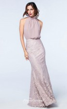 DASUKWS2514 Plus Sides Mermaid/Trumpet High Neck Purple Pink 57 Lace Chiffon With Covered Back Bridesmaid Dresses
