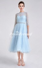 EBD001 Tulle Illusion Short Sky Blue Bridesmaid Dresses