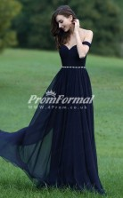 EBD003 Sweetheart Long Navy Blue Bridesmaid Dresses