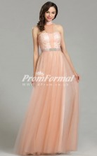 EBD011 Tulle Halter Coral Bridesmaid Dresses