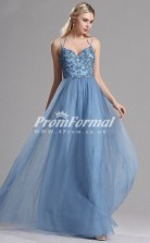 EBD014 Straps Blue Bridesmaid Dresses