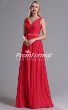 EBD018 V-neck Red Bridesmaid Dresses with Ruched Bodice