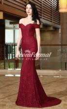 EBD028 Off The Shoulder Burgundy Bridesmaid Dresses
