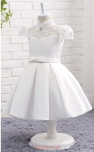 White Ball Gown High Neck Short Sleeve Tea Length Kid's Prom Dresses(FG12813)